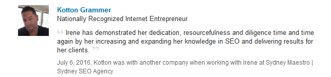 Testimonial about SEO experience from Kotton Grammer