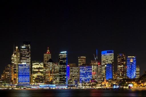 Buildings in Sydney Australia CBD lighted up